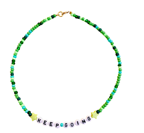 green beaded handmade necklace keep going