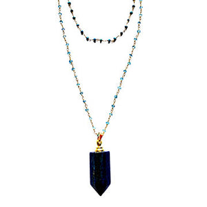 Double Layer Lapis Perfume Bottle Necklace