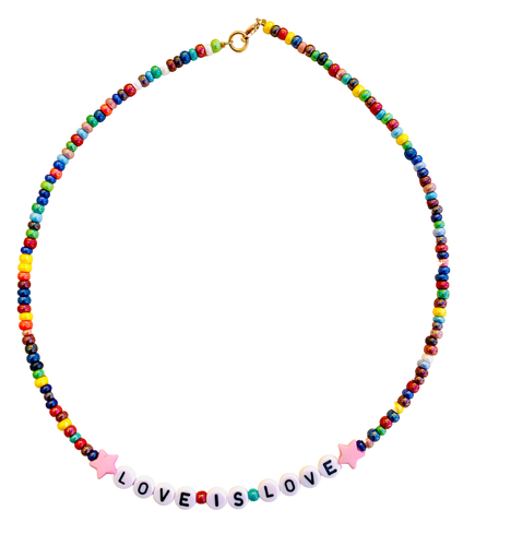 rainbow beaded necklace with love is love