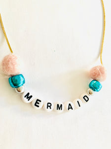 pink and blue mermaid gold necklace