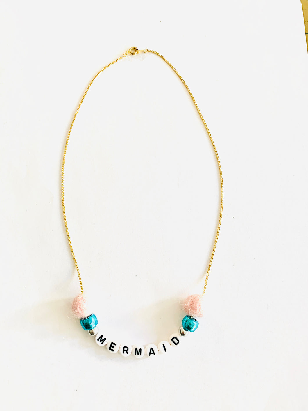 mermaid pom pom necklace