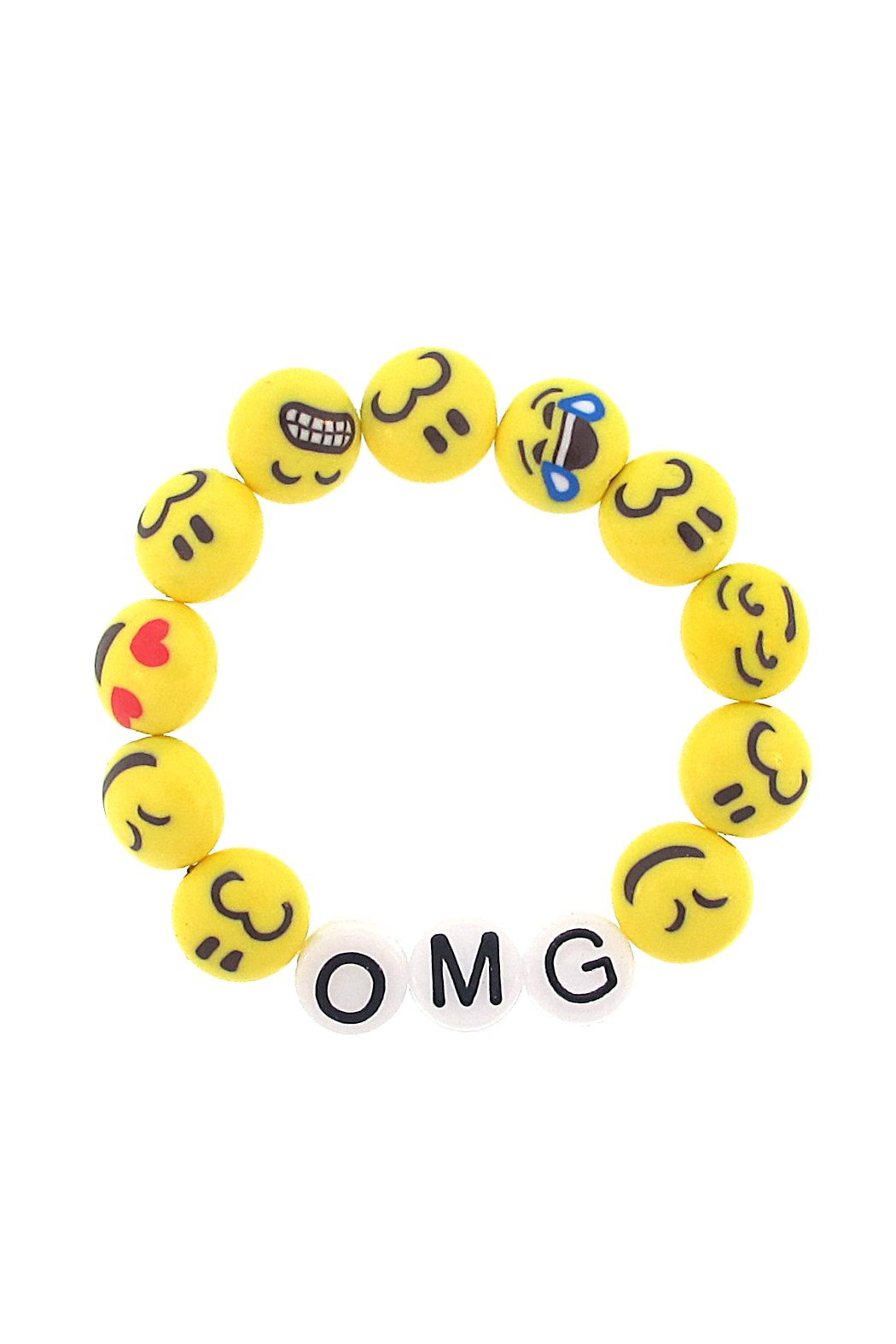 'OMG' Oh My God Emoji Stretch Bracelet