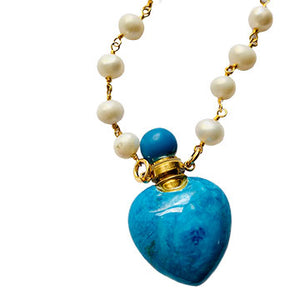 Turquoise Howlite and Pearl Perfume Bottle Necklace