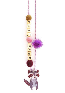 """Play Hard"" Raccoon Push-Pop Necklace"