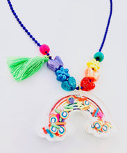 Load image into Gallery viewer, colorful rainbow tassel shaker necklace