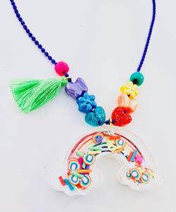 colorful rainbow tassel shaker necklace