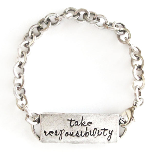 'Take Responsibility' Hand Stamped Bracelet