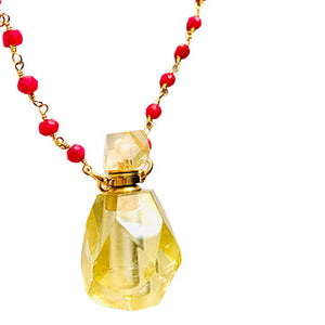 Citrine and Ruby Perfume Bottle Necklace
