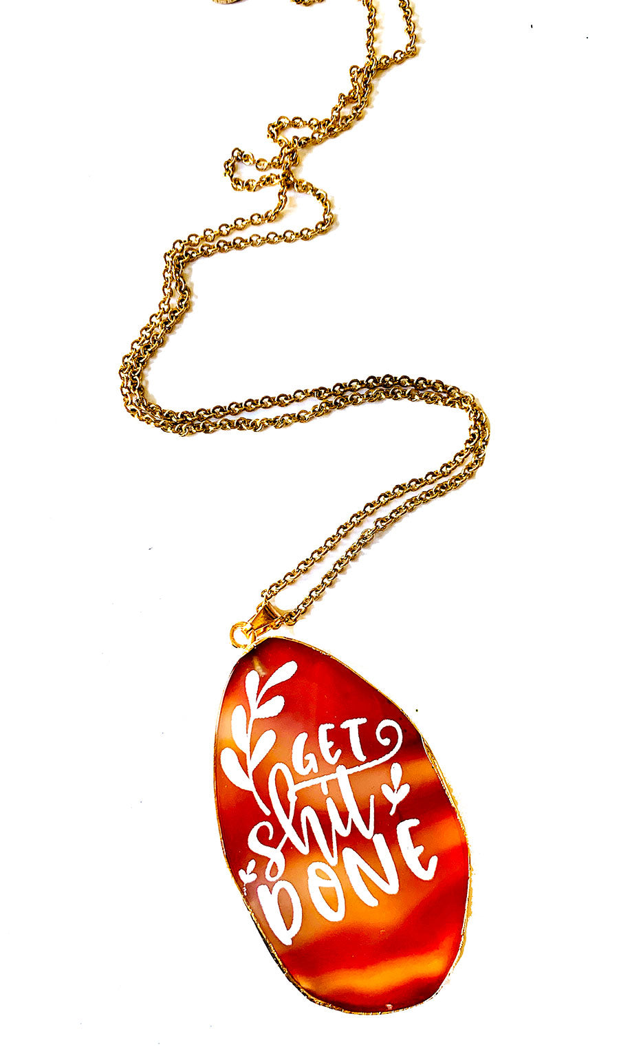 Get Shit Done Agate Slice Necklace