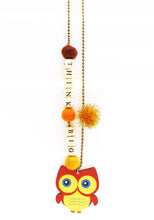 "Load image into Gallery viewer, ""Think Big"" Owl Push-Pop Necklace"