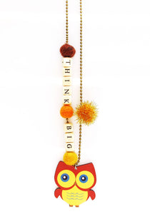 """Think Big"" Owl Push-Pop Necklace"