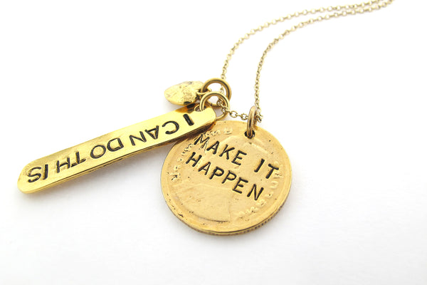 'Make It Happen/I Can Do This' Gold Charm Necklace