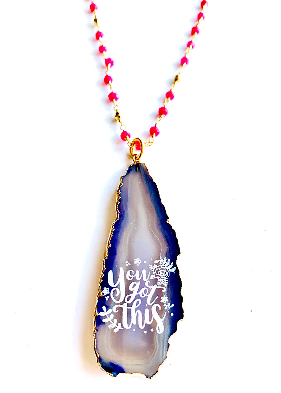 You Got This Agate Ruby Necklace