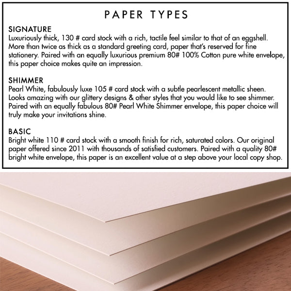 digibuddha offers three paper types: signature 130lb, shimmer 105lb, and basic 110lb