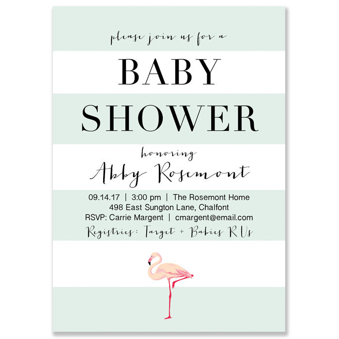 """Abby"" Mint Striped + Flamingo Baby Shower Invitation"