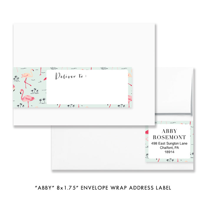"""Abby"" Mint Striped + Flamingo Bridal Shower Invitation"