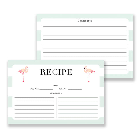 Mint Stripe + Flamingo Recipe Cards | Abby