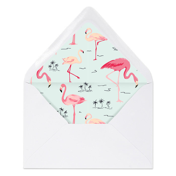 """Abby"" Mint Stripe + Flamingo Envelope Liners"
