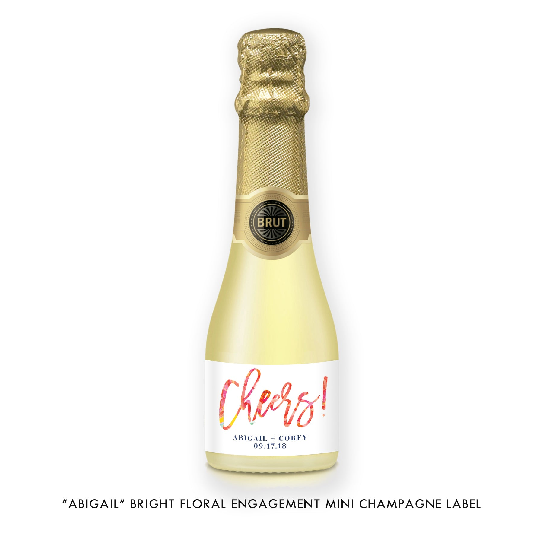"""Abigail"" Engagement Champagne Labels"