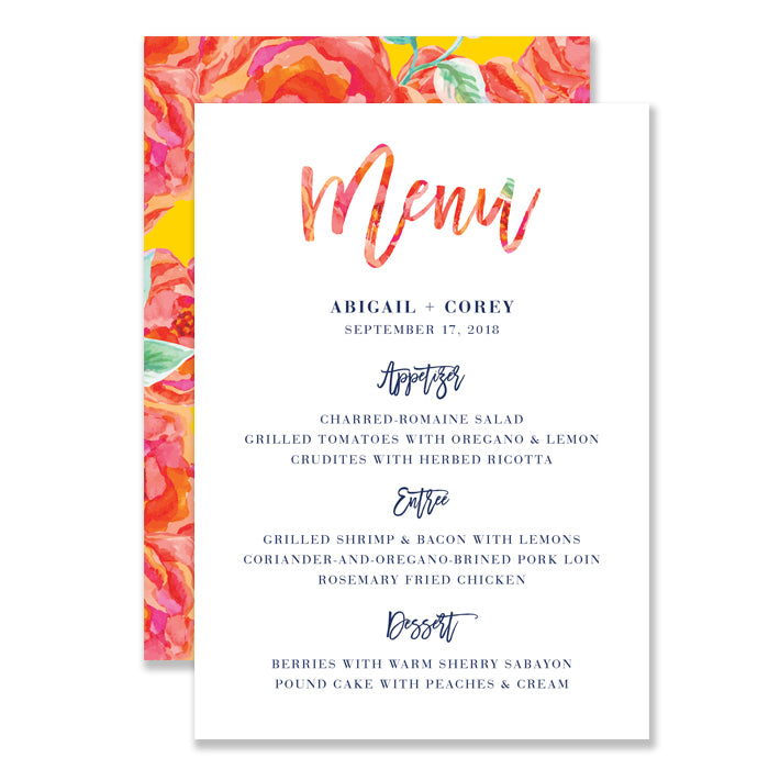 """Abigail"" Bright Floral Watercolor Wedding Menu"