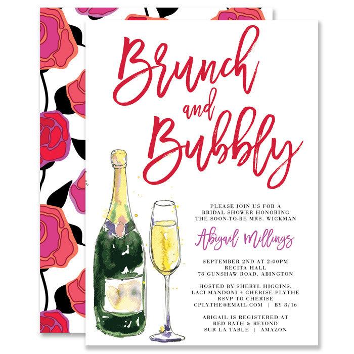 Red Roses Brunch and Bubbly Bridal Shower Invitation