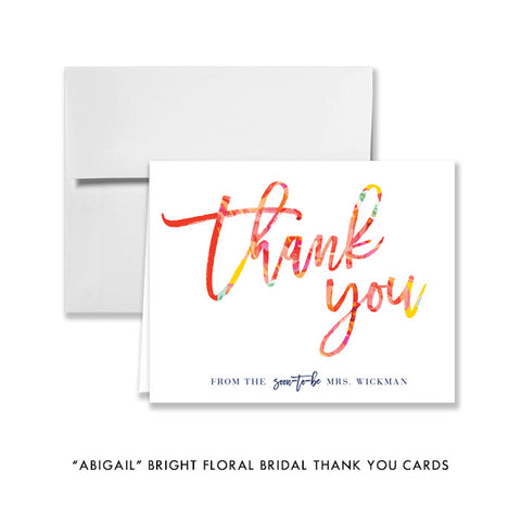 """Abigail"" Bright Floral Bridal Thank You Card"