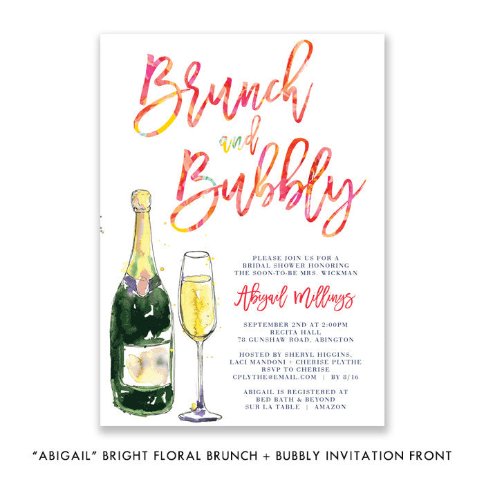 """Abigail"" Brunch + Bubbly Bridal Shower Invitation"