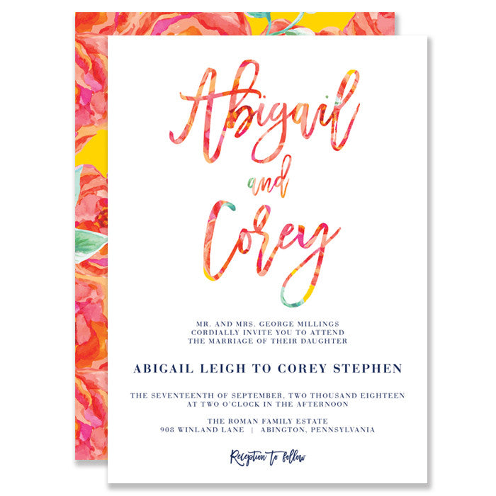 """Abigail"" Bright Floral Wedding Invitation"