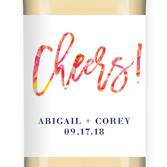 """Abigail"" Bright Floral Wedding Wine Label"