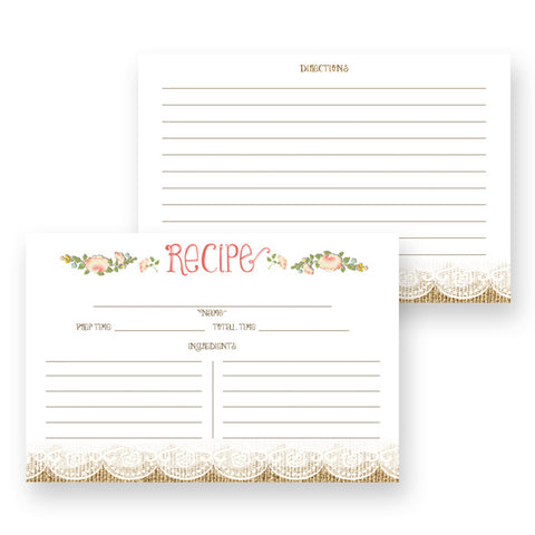 Floral Recipe Cards |  Ainsley