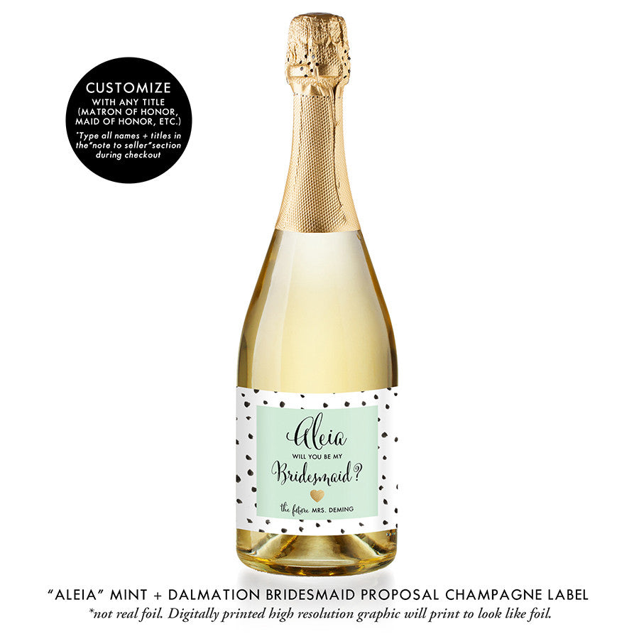 """Aleia"" Mint + Dalmation Bridesmaid Proposal Champagne Labels"