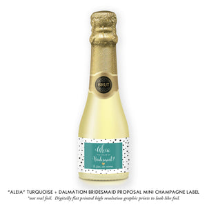 """Aleia"" Turquoise + Dalmation Bridesmaid Proposal Champagne Labels"