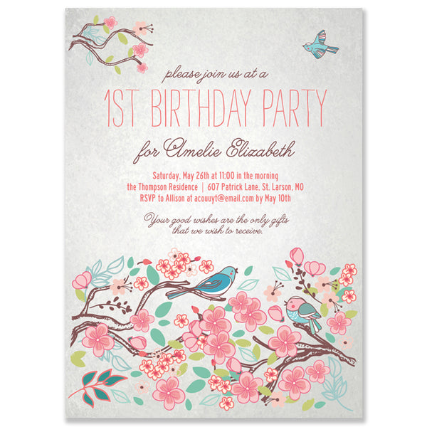 Baby Girl's First Birthday Party Invitation