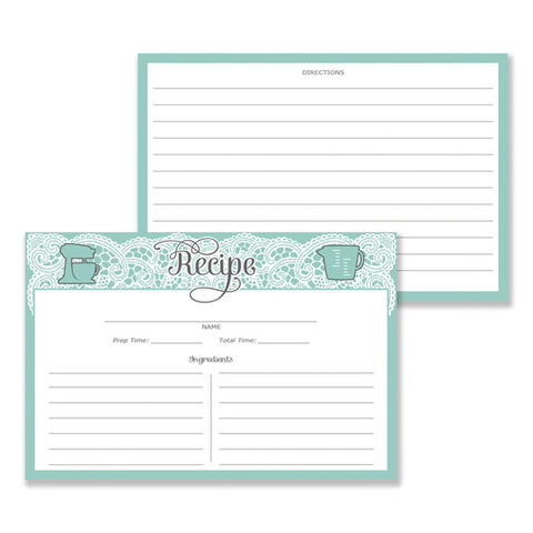 Lace Recipe Cards |  Amy Blue White