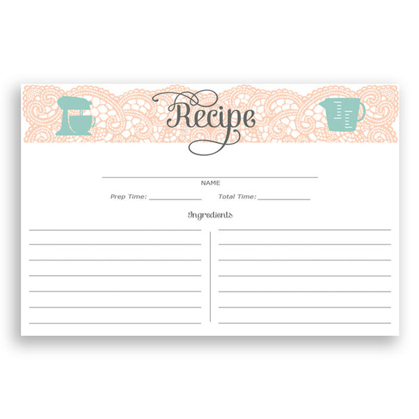 Lace Recipe Cards |  Amy Coral