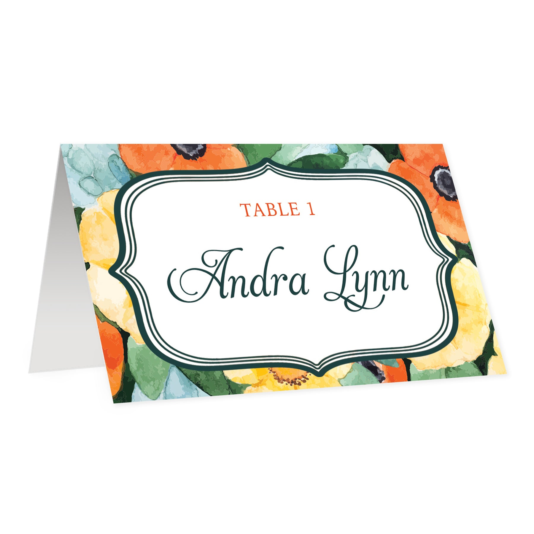 Boho Place Cards with Watercolor Floral | Andra