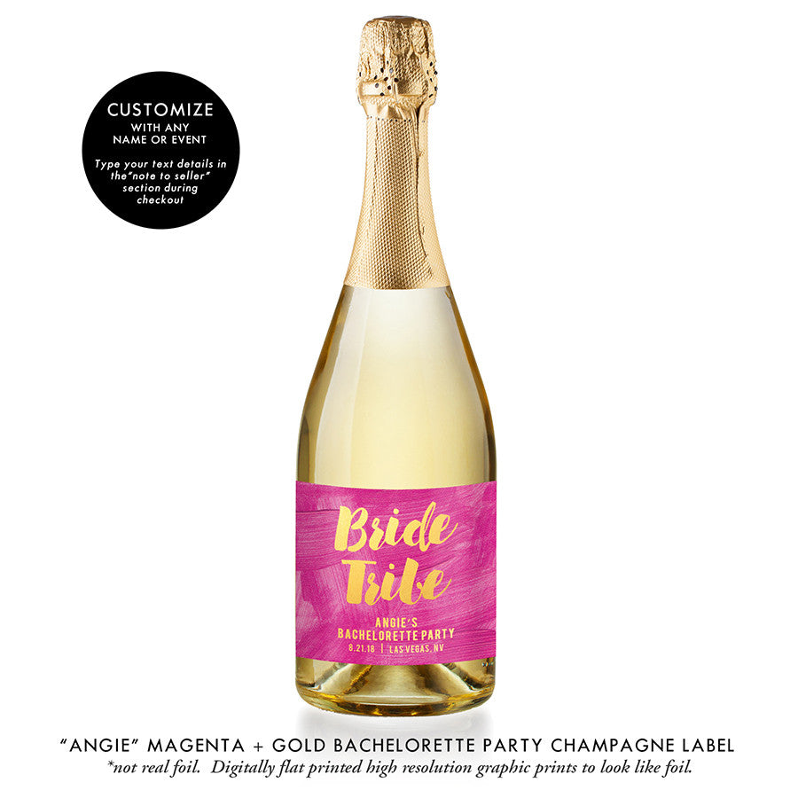 """Angie"" Magenta + Gold Bachelorette Party Champagne Labels"