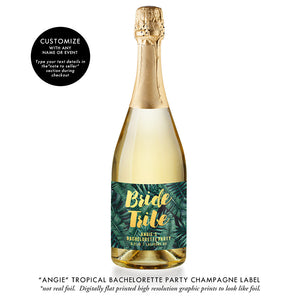 """Angie"" Tropical Bachelorette Party Champagne Labels"