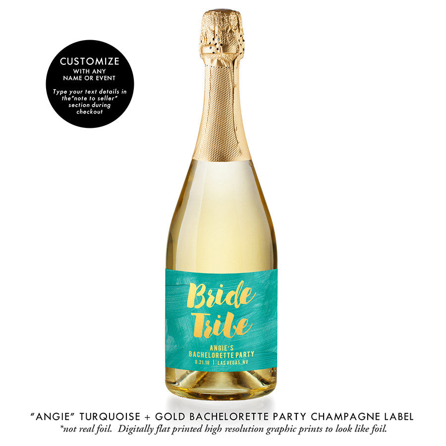 """Angie"" Turquoise + Gold Bachelorette Party Champagne Labels"