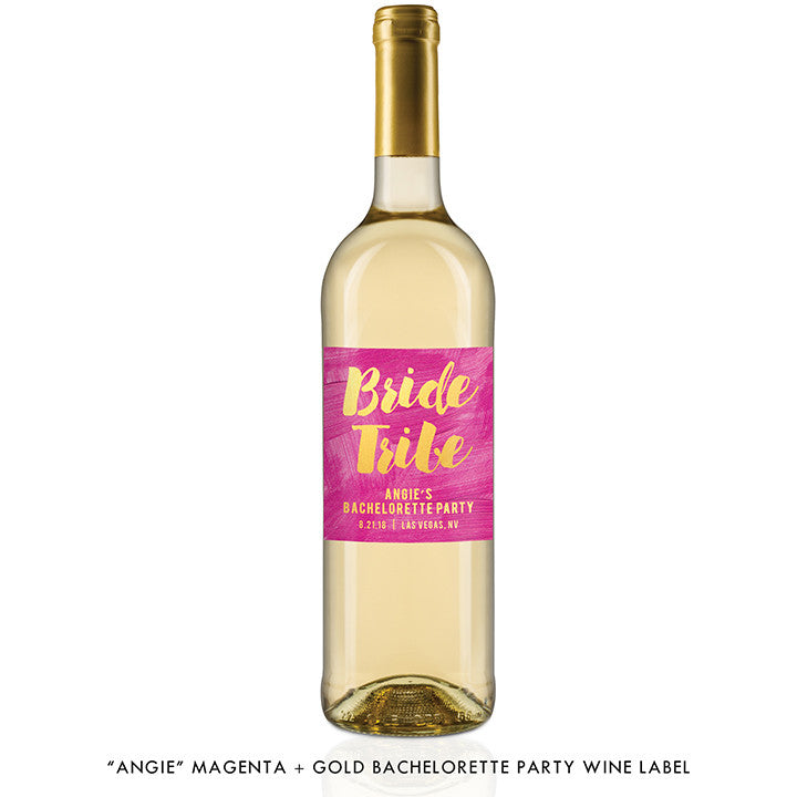 """Angie"" Magenta + Gold Bride Tribe Bachelorette Party Wine Labels"