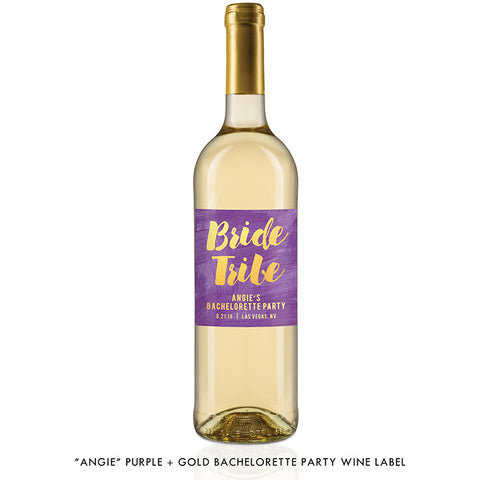 """Angie"" Purple + Gold Bride Tribe Bachelorette Party Wine Labels"