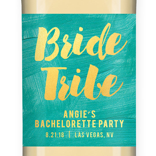 """Angie"" Turquoise + Gold Bride Tribe Bachelorette Party Wine Labels"