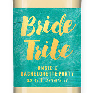 """Angie"" Turquoise + Gold Bachelorette Party Wine Labels"