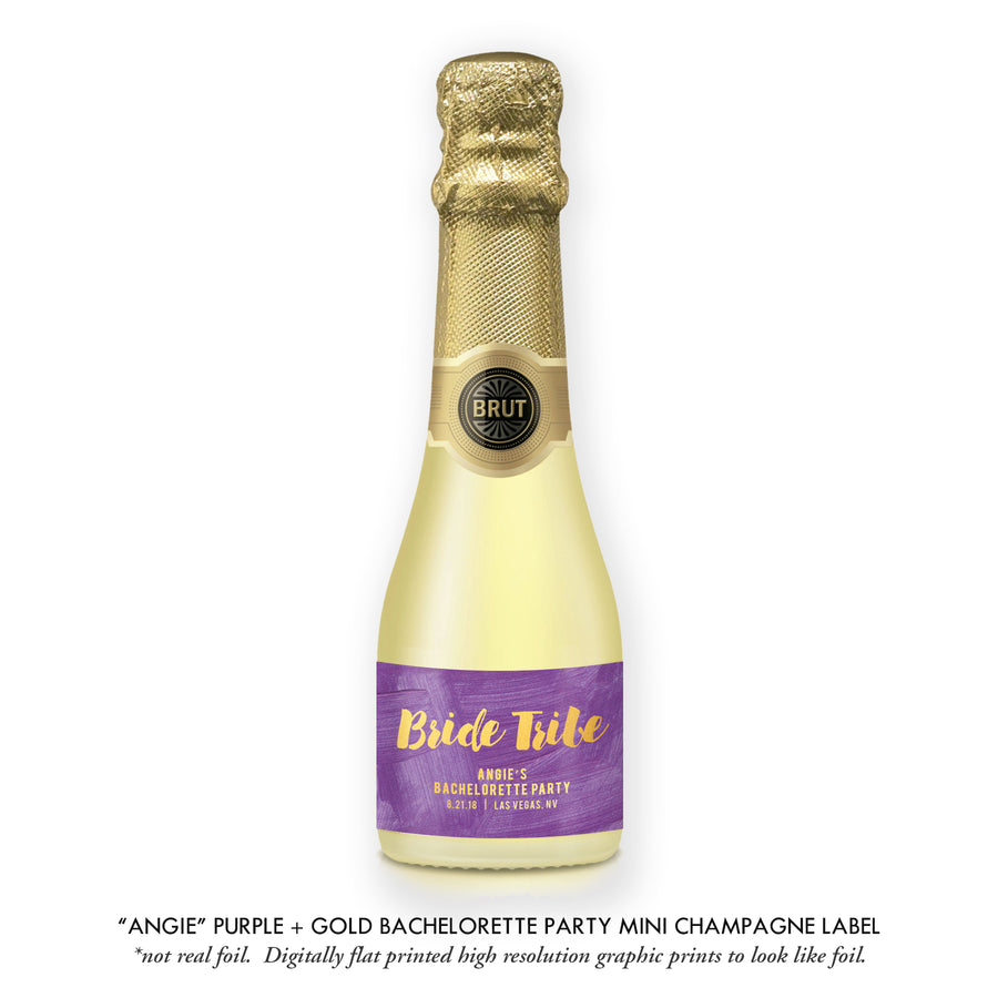 """Angie"" Purple + Gold Bachelorette Party Champagne Labels"