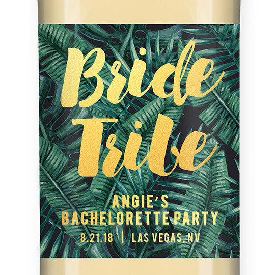 """Angie"" Tropical Bride Tribe Bachelorette Party Wine Labels"