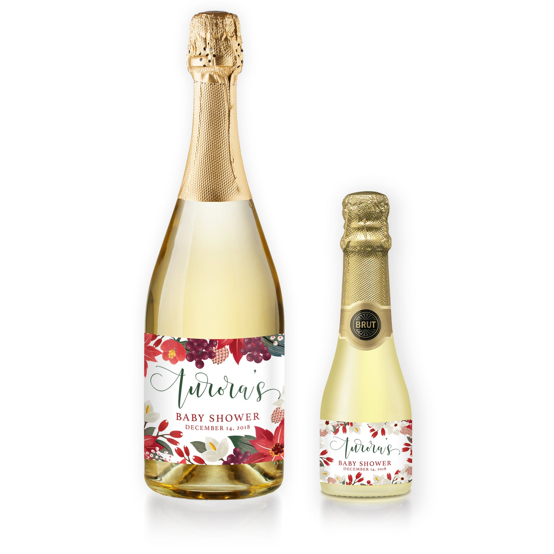 """Aurora"" Floral Holiday Baby Shower Champagne Labels"
