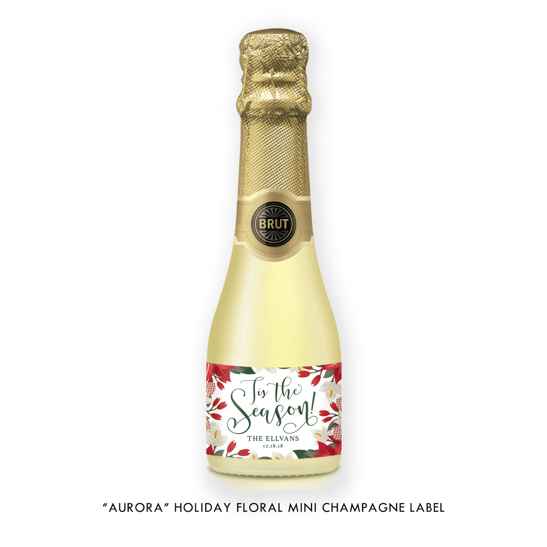 """Aurora"" Floral Holiday Champagne Labels"