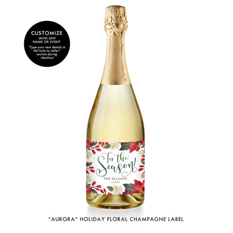 Personalized Holiday Champagne Label
