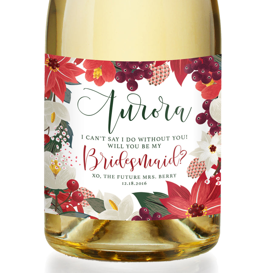 """Aurora"" Floral Holiday Bridesmaid Proposal Champagne Labels"