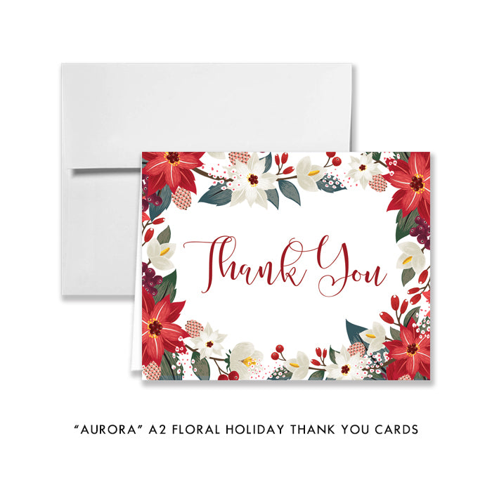 """Aurora"" Floral Holiday Thank You Card"